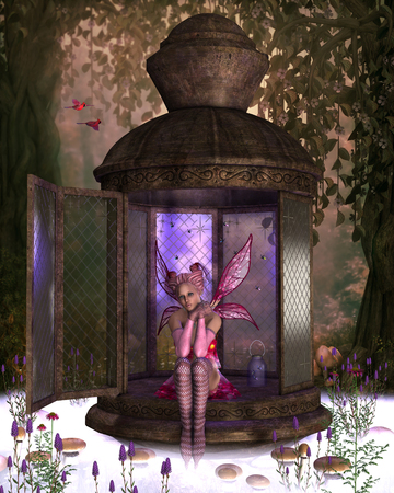 mirage: Fairy Rhea takes a break from capturing fireflies for her personal collection as two Cardinal birds fly over.