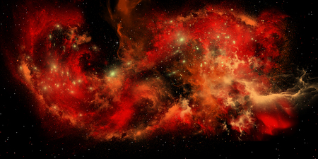 matter: A nebula is a collection of interstellar gasses, dust and matter in which stars are born. Stock Photo