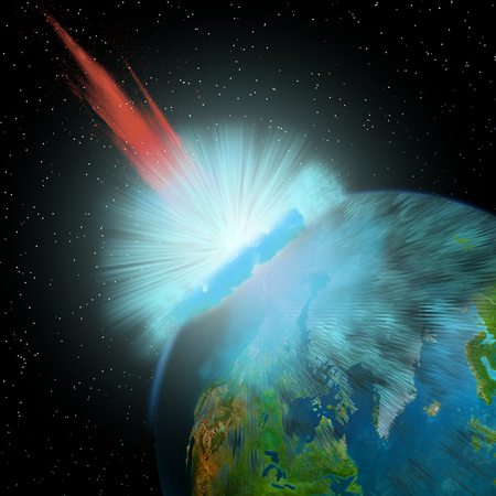 collision: An asteroid hits the Earth near the North Pole causing enormous damage to surrounding areas.