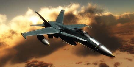 afterburner: Fighter Jet - A pilot takes a fighter jet through flight maneuvers on a training mission. Stock Photo