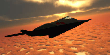 Stealth Fighter Jet Side View - A pilot takes a Stealth Fighter jet through flight maneuvers on a training mission.