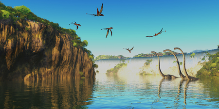 herbivorous: Dimorphodon and Omeisaurus Dinosaurs - Omeisaurus herbivorous sauropod dinosaurs wade through a river below a waterfall as Dimorphodon flying reptiles fly overhead.