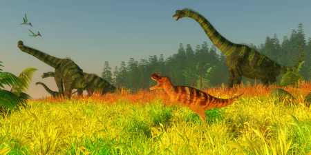 pterodactyl: Jurassic Coastal Redwood Forest - Two Pterodactylus reptiles fly over a herd of Brachiosaurus sauropod dinosaurs as they keep a wary eye on a Ceratosaurus carnivore. Stock Photo