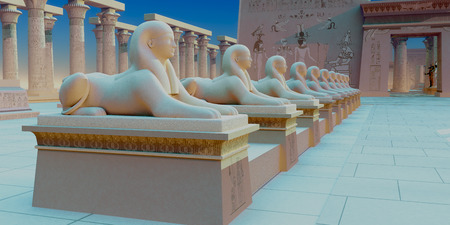 dynasty: Egyptian Sphinx - A row of sphinx stone sculptures stand in formation at the entrance to Pharaohs Egyptian temple.