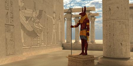 Dieu égyptien Seth - Seth était un dieu égyptien du chaos, les tempêtes, le désordre, la violence, la guerre et les étrangers. Il a le corps d'un être humain et la tête d'un animal tenant le symbole ankh pour la vie. Banque d'images - 56490997