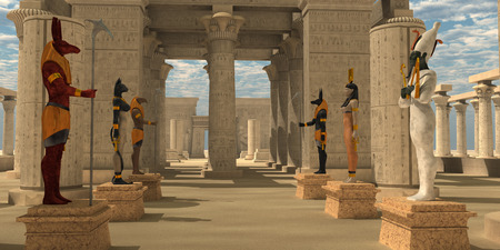 ra: Temple of Ancient Pharaohs - A Pharaohs temple to worship Egyptian gods Seth, Ra, Anubis, Hathor, Osiris, and Bast. Stock Photo