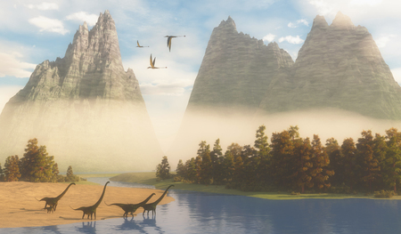 sauropod: Jurassic Mamenchisaurus Habitat - Dimorphodon reptiles fly over a herd of Mamenchisaurus dinosaurs coming down to a river for a drink.