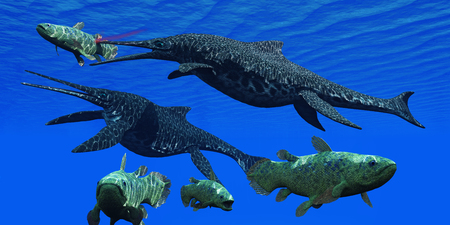 stabs: Triassic Shonisaurus Marine Reptile - A Shonisaurus Ichthyosaur stabs a Coelacanth fish trying to get away from these predators in a Triassic ocean. Stock Photo