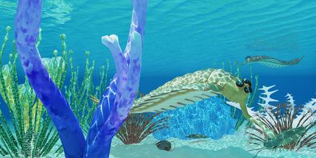 shale: Opabinia eats Trilobite - The predator Opabinia uses its proboscis to eat a trilobite in a Cambrian ocean. Stock Photo