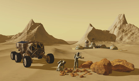 Mars Planet Explorers - Two explorers take their vehicle to find rock samples to take back to their Mars habitat.