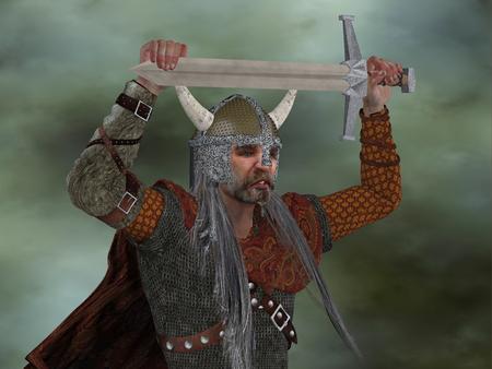 -A バイキング戦士の剣でバイキング男は侵略行為で彼の頭の上の剣を上げることによって彼の男性を奨励しています。