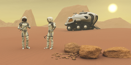 intrepid: Martian Exploration - Two intrepid explorers talk together on the next phase of their exploration of the Mars planet.