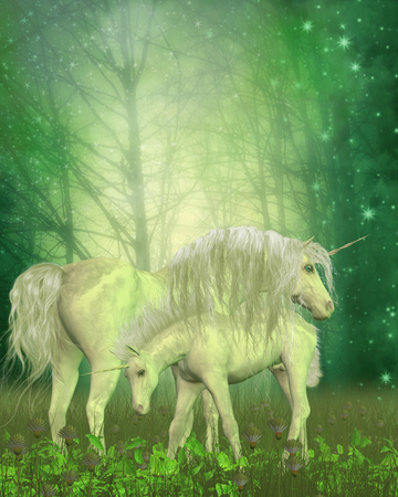him: White Unicorn Family - A small unicorn colt investigates the forest vegetation as his mother stands protectively over him. Stock Photo