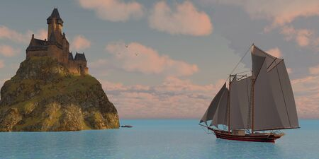 schooner: Lake Schooner and Castle - A lake schooner sails to an island that has a castle on a steep cliff on a beautiful day.