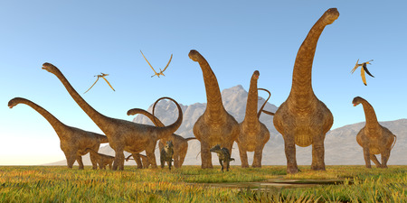 pteranodon: Malawisaurus Dinosaurs - Two Dracorex walk with a herd of Malawisaurus dinosaurs for safety as a flock of Pteranodon reptiles fly over. Stock Photo