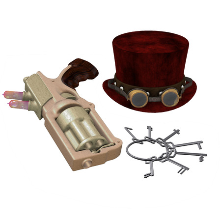 Steampunk Hat Goggles Gun Keys - A Steampunk collection of various items representing the subculture of cyberpunk.