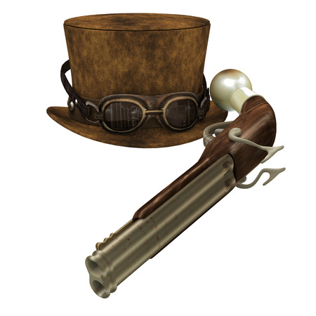 subculture: Steampunk Hat Goggles Gun - A Steampunk collection of various items representing the subculture of cyberpunk. Stock Photo
