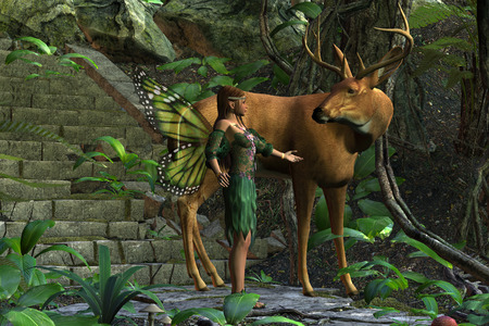 whitetail deer: Fairy and Buck - A beautiful fairy tries to make friends with a magnificent whitetail deer with antlers.