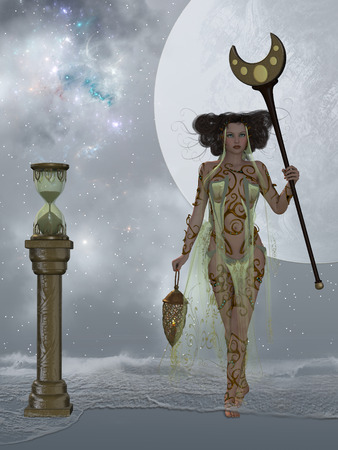 conceiving: Sands of Time - A sand hourglass and cosmic nebula represents endless time as ocean waves come into shore surrounding a beautiful woman.