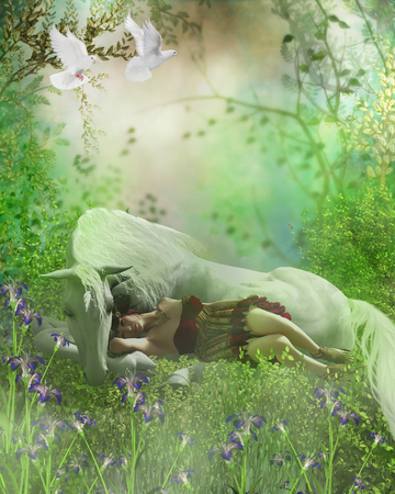 nature woman: Fairy and White Unicorn - A forest fairy finds a white unicorn a nice resting place for an afternoon nap as white doves fly over.