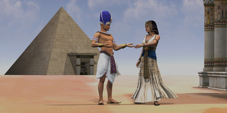 Egyptian Queen Pharaoh Temple - A Pharaoh talks with his queen near a pyramid and temple in the Old Kingdom of Egypt.