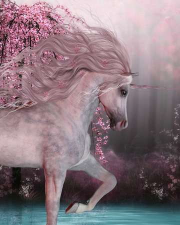 Cherry Blossom Unicorn - The Unicorn horse is a mythical creature with a horn on it's forehead and cloven hoofs and lives in the magical forest. Banque d'images