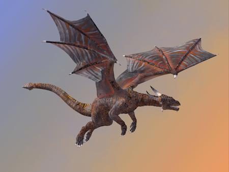 legend: Hell Dragon Flying - A red hell dragon is a creature of myth and legend and is fire-breathing and has horns and wings.
