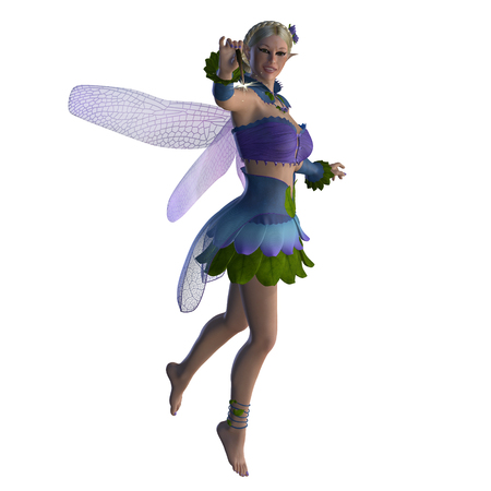 Fairy Sarah on White - A fairy is a creature of folklore and legend and has pointed long ears, is small in stature and has wings.
