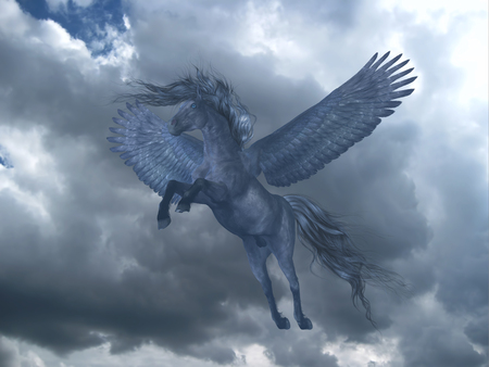 Black Pegasus in Blue Sky - A black Pegasus horse rises on powerful wings up into a blue sky with billowing white clouds.