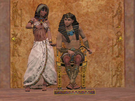 Egyptian Queen advises Pharaoh - The rulers of Egypt in the Old Kingdom consult with each other about the daily affairs in the palace.