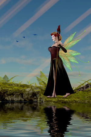Fairy Lillith by Pond - Three Bluebirds fly over fairy Lillith as she stands by a pond in the magical forest.