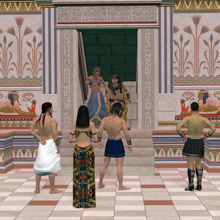 advise: Pharaoh Throne Hall - A group of Egyptian people come to Pharaoh for his advise on affairs in the Old Kingdom.