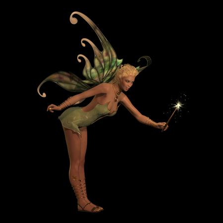 legend: Fairy Anouk on Black - A fairy is a creature of folklore and legend and has pointed long ears, is small in stature and has wings.