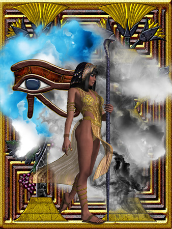 Egyptian Echoes of Time - Fantasy illustration of the Eye of Ra or Horus and an Egyptian queen with headdress and snake staff.