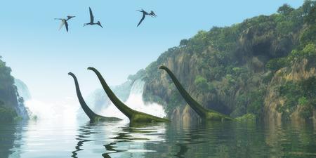 mesozoic: Mamenchisaurus Dinosaur Foggy Day - Two Mamenchisaurus dinosaur adults escort a youngster across a river as Pterodactylus birds search for fish prey. Stock Photo