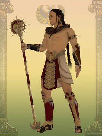 Egyptian Guard - An Egyptian guard for the temples and palaces of the Old Kingdom of Egypt with cobra staff.