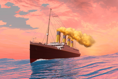 catastrophic: Titanic Passenger Liner - On the afternoon of the fateful day it sank the RMS Titanic cruises to its destiny with an iceberg.