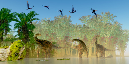 pterodactyl: Spinophorosaurus Dinosaurs Swamp - A flock of Dorygnathus reptiles fly over a herd of Spinophorosaurus sauropod dinosaurs in a Jurassic swamp. Stock Photo