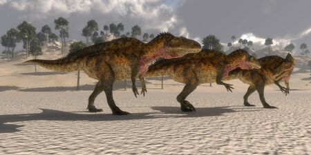 cretaceous: Acrocanthosaurus Dinosaurs - Acrocanthosaurus theropod dinosaurs band together to search for prey in the Cretaceous period.