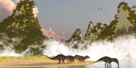 sauropod: Amargasaurus Dinosaurs - A herd of Amargasaurus dinosaurs come down to a lake to drink in the morning as a flock of Zhenyuanopterus Pterosaur reptiles fly over nearby mountains.