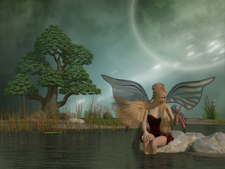 folktale: Fairy Daina by Pond - A woodland fairy plays with her pet dragon in a magic ball while sitting by a marsh pond.