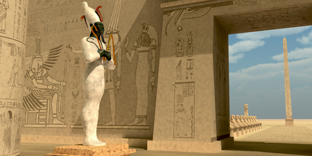 Osiris Statue in Pharaoh Temple - Osiris in Pharaoh's temple was known as an Egyptian god of the afterlife and resurrection. Stock Photo - 68884702