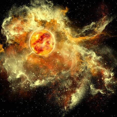 matter: Sun Evolution - A sun gathers surrounding matter and plasma to become a larger and larger sphere in the universe. Stock Photo