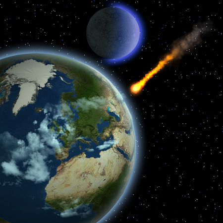 Earth Meteor - A meteor hits Earths atmosphere and heats up as it hurtles to the surface of our planet.