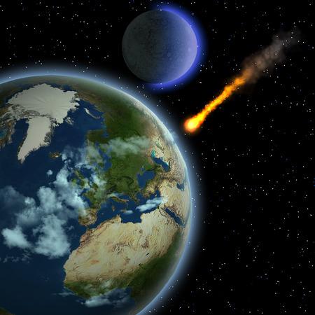 gravedad: Tierra Meteor - Un meteorito golpea la atmósfera de la Tierra y se calienta a medida que se precipita a la superficie de nuestro planeta.