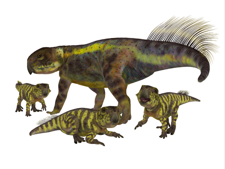 youngsters: Psittacosaurus Mother with Offspring - Psittacosaurus was a Ceratopsian herbivorous dinosaur that lived in Asia in the Cretaceous Period. Stock Photo