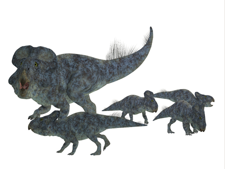 offspring: Protoceratops Mother with Offspring - Protoceratops was a herbivorous Ceratopsian dinosaur that lived in Mongolia in the Cretaceous Period.