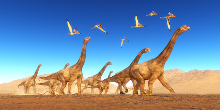 reptiles: Brontomerus Dinosaur Desert - A flock of Thalassodromeus reptiles fly over a herd of Brontomerus dinosaurs crossing a desert area.