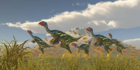 Caudipteryx Dinosaur Flock - Caudipteryx was a dinosaur reptile bird that lived in China in the Cretaceous Period.