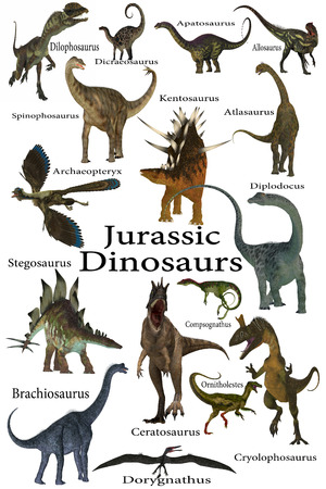 mesozoic: Jurassic Dinosaurs - This is a collection of various dinosaurs including carnivores, herbivores and flying reptiles that lived in the Jurassic Period. Stock Photo
